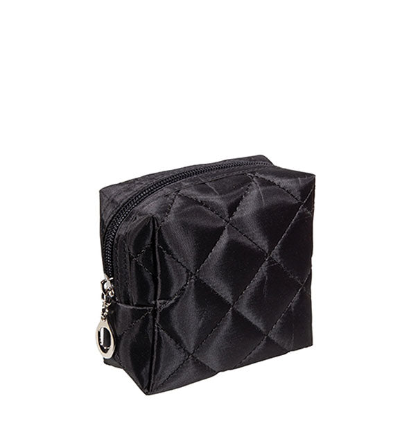Small square black quilted cosmetic pouch with zipper closure