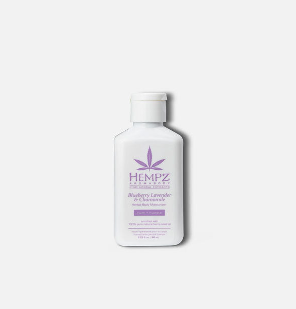 A white 2.25-ounce travel size bottle of Hempz Blueberry Lavender & Chamomile Herbal Body Moisturizer with purple printing and logo.
