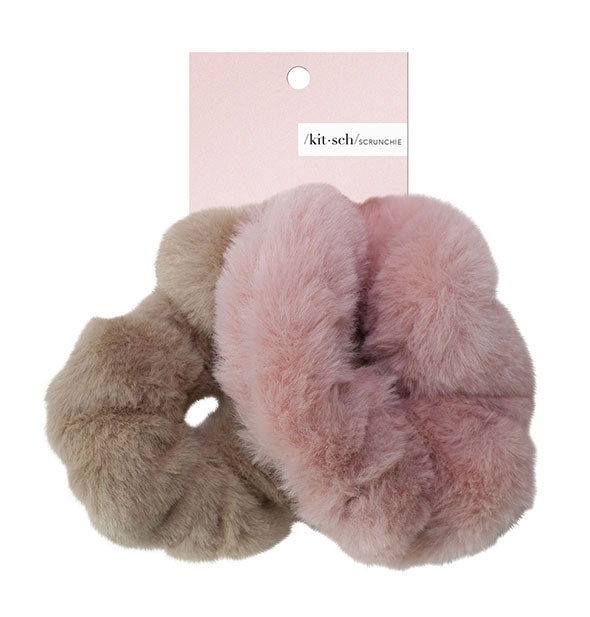 2 Piece Faux Fur Scrunchies in Blush and Tan