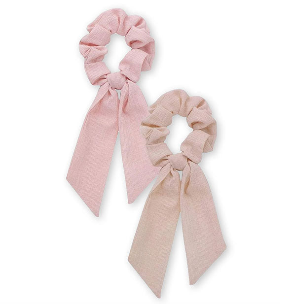 2 Piece Scarf Scrunchies in blush and mauve