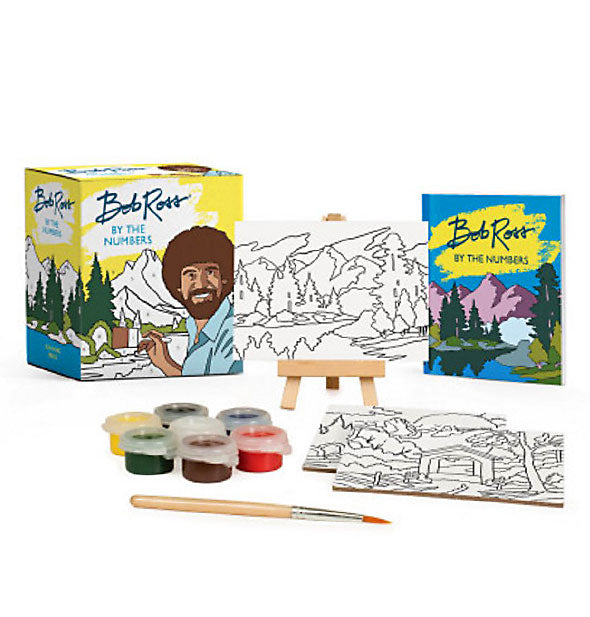 Contents of the Bob Ross by the Numbers painting kit