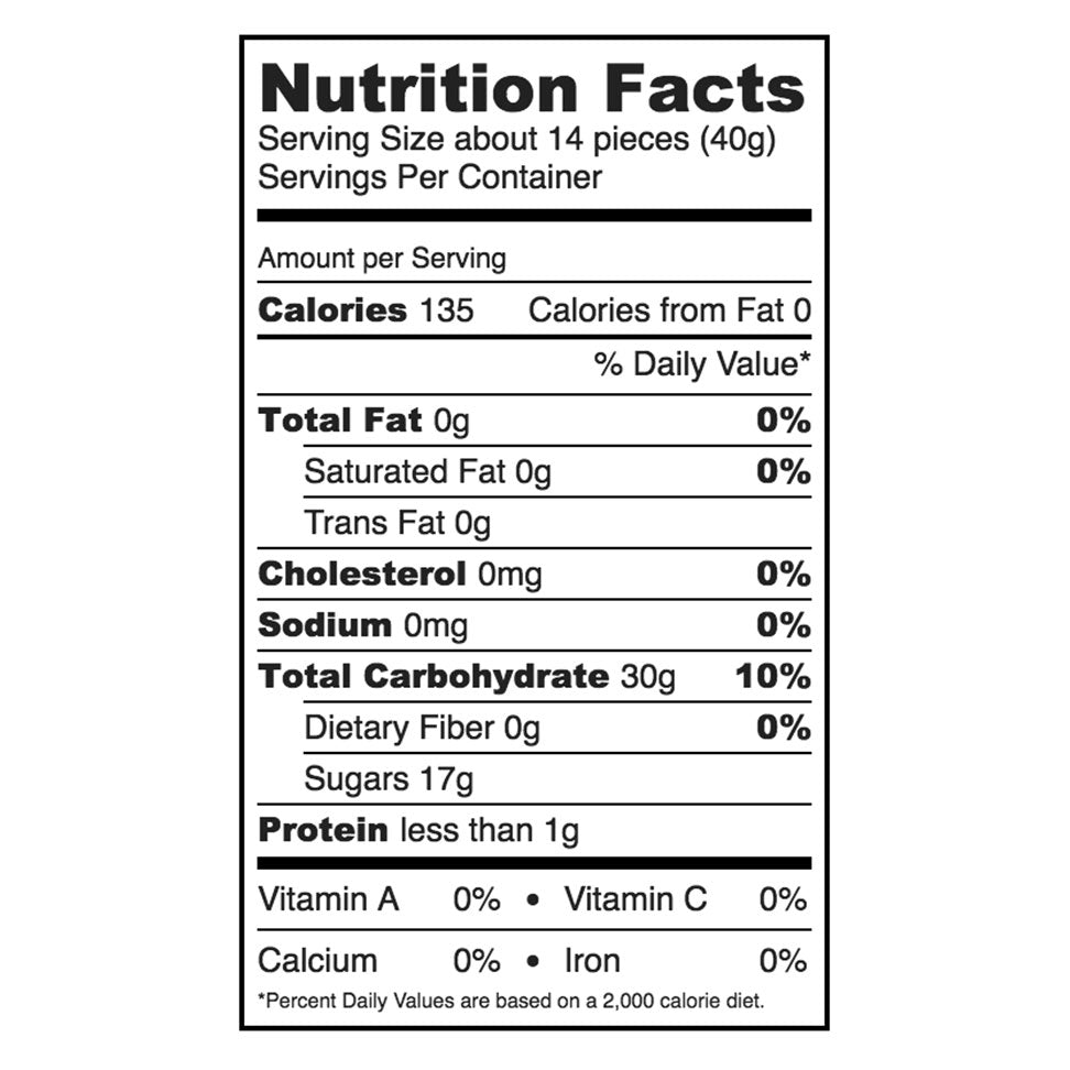 Nutrition facts for Sugarfina Bourbon Bears.
