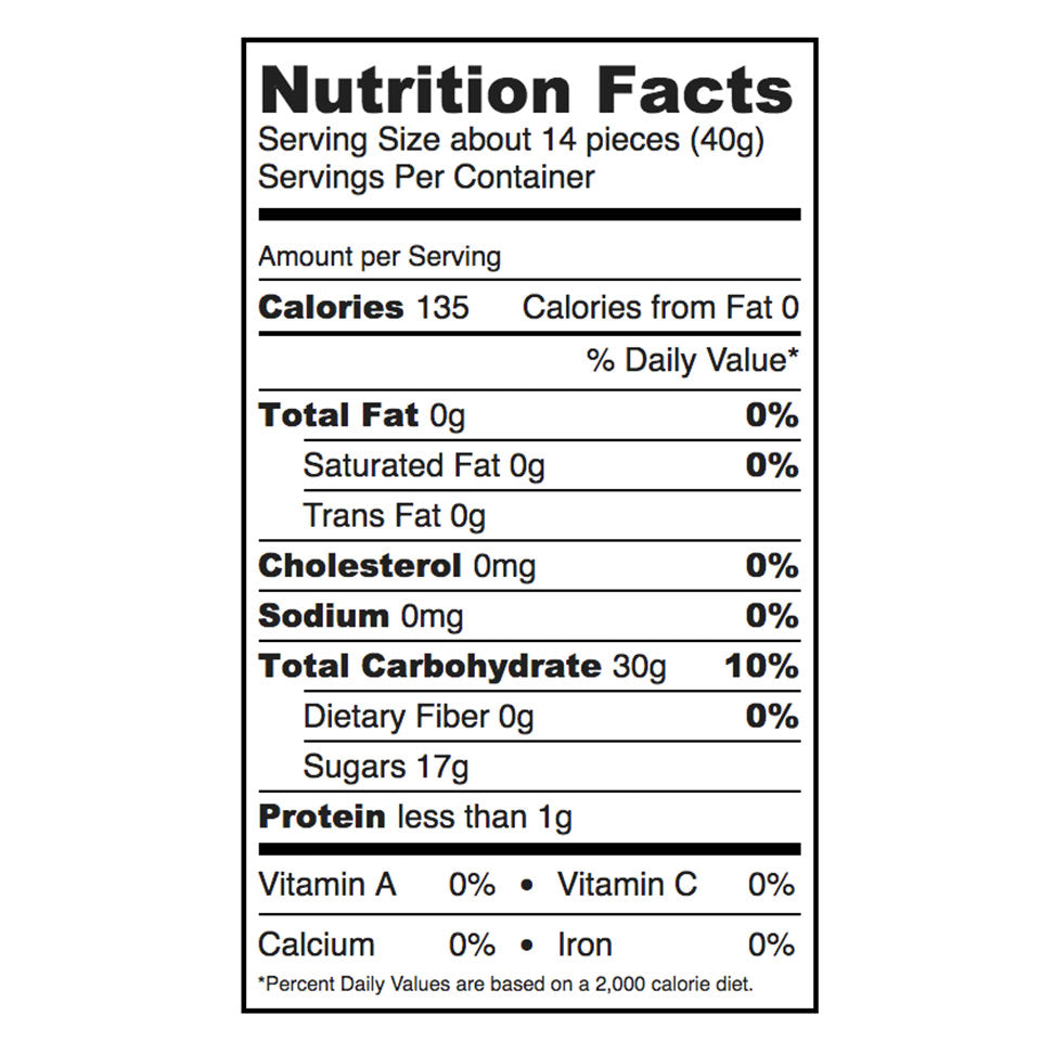 Nutritional facts for Sugarfina Bubbly Bears gummy candies.