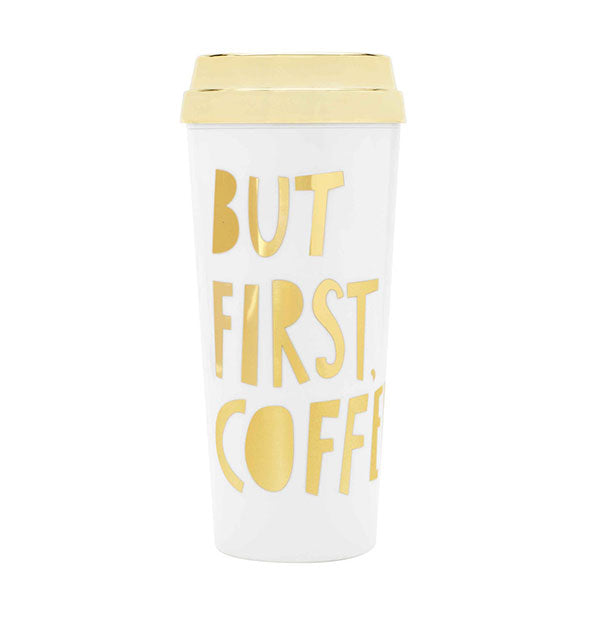 ban.do - Deluxe Hot Stuff Thermal Mug: But First, Coffee Gold