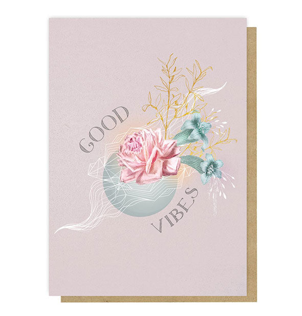 Good Vibes Greeting card with pastel floral design on a dusty purple background