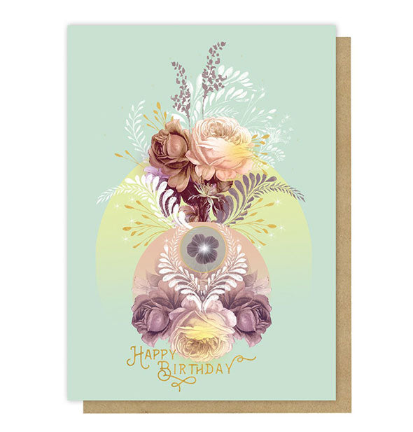 Happy Birthday greeting card with pastel florals, fern brushstrokes, and circular accents