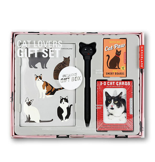 Cat Lovers Gift Set with magnets, pen, playing cards, and emery boards