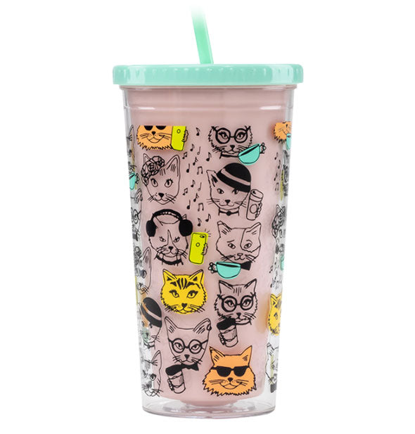 Cat cartoon design pink drink tumbler with green lid and straw