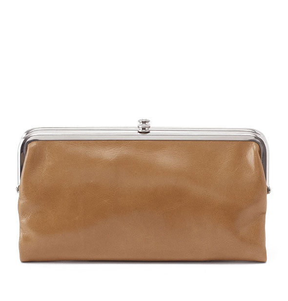 Light brown leather wallet with silver hardware