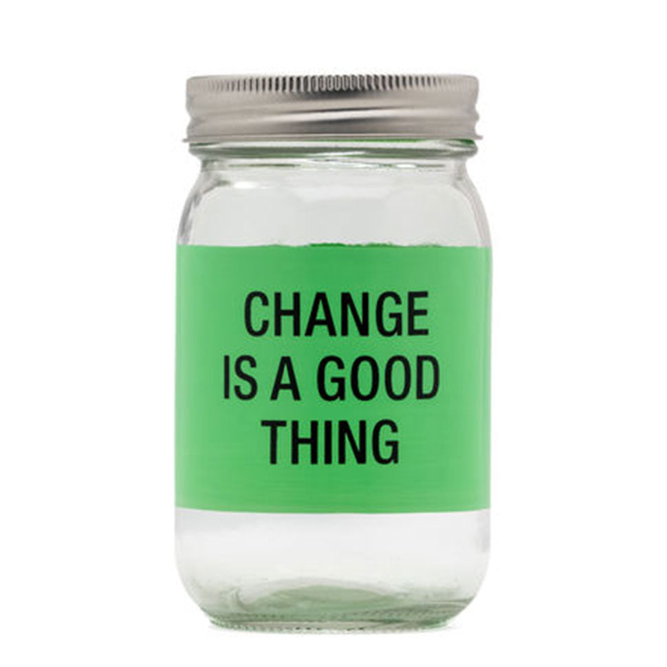 Change Is A Good Thing Glass Mason Jar Bank - About Face Designs