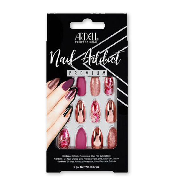 A pack of Ardell Professional Nail Addict Premium press-on nails shown in various pink patterns and finishes.