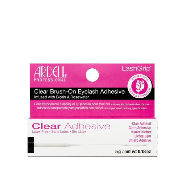 Clear Brush On LashGrip Adhesive infused with Biotin & Rosewater Latex Free
