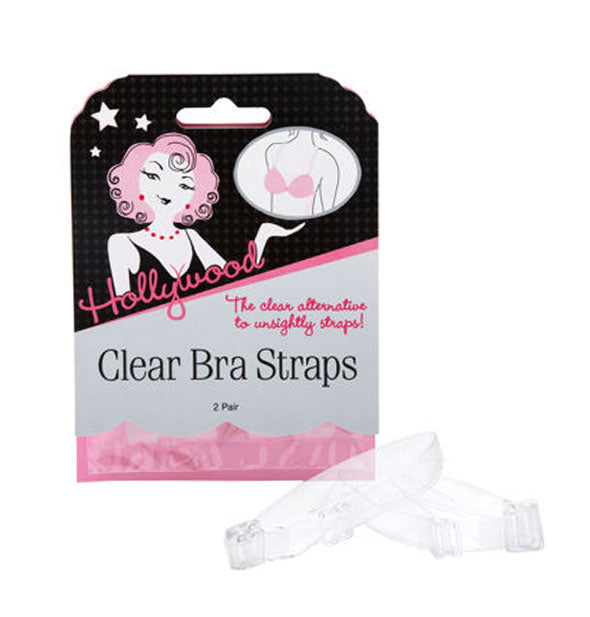Pack of Hollywood Fashion Secrets Clear Bra Straps with samples shown in front