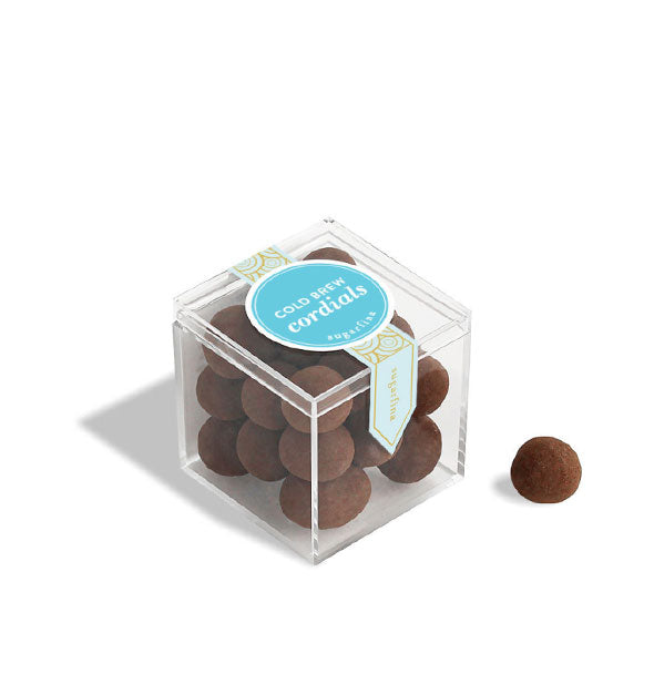 Clear cube with chocolate balls inside