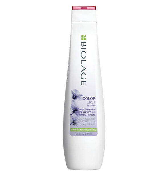 White 13.5-ounce bottle of Biolage ColorLast Purple Shampoo with pink, violet, and green design accents.