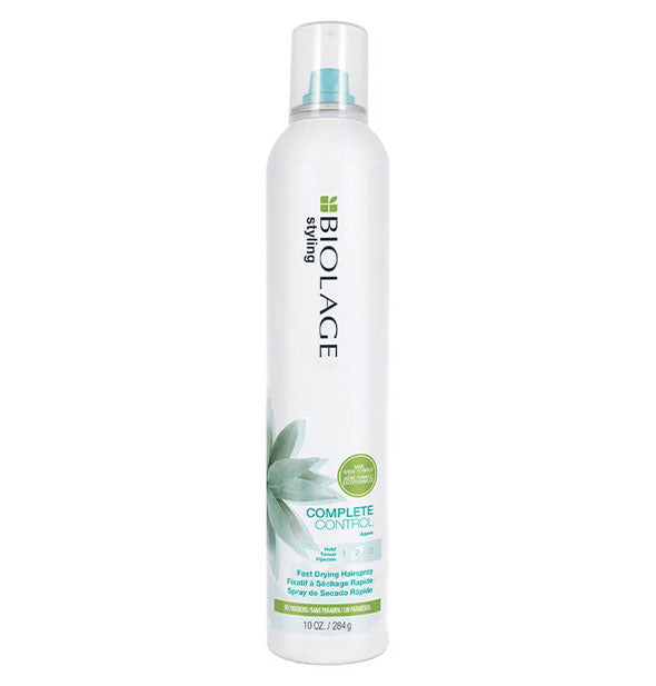 White 10-ounce can of Biolage Styling Complete Control Fast Drying Hairspray with blue and green design accents.