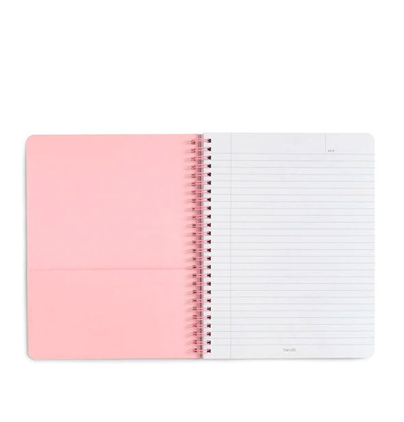 Notebook interior with pink pocket and lined page