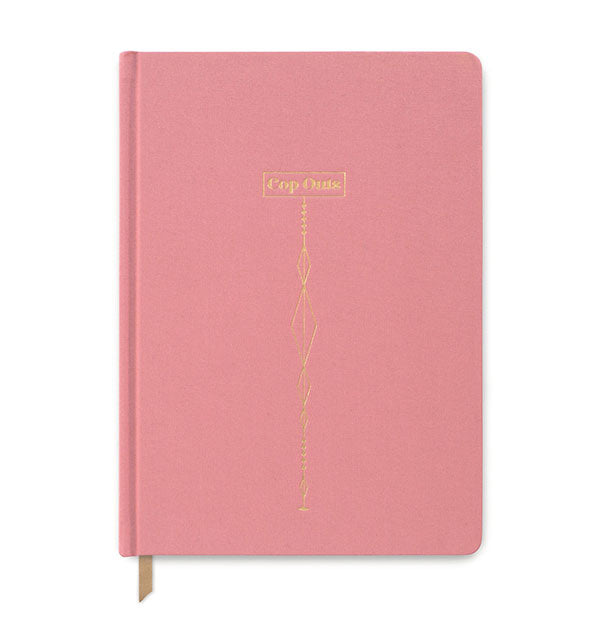 Pink cloth journal with gold details and lettering