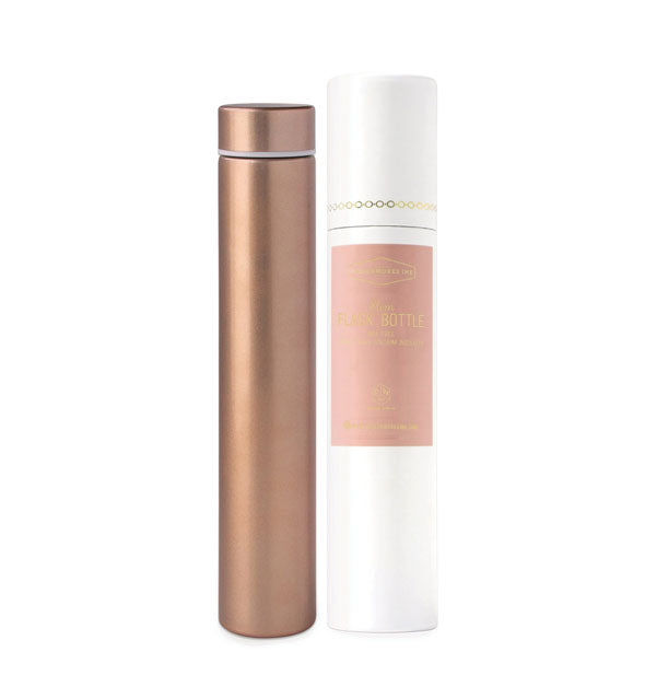 A copper-toned slim cylindrical bottle flask with lid.