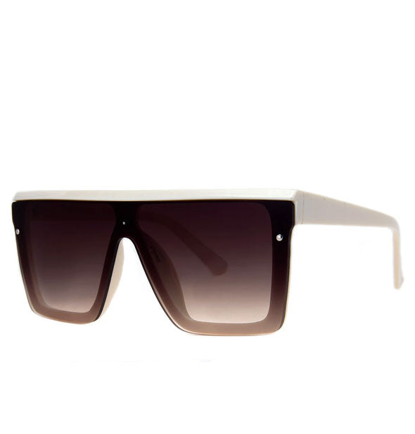 Pair of square white aviator sunglasses with amber gradient lens tint