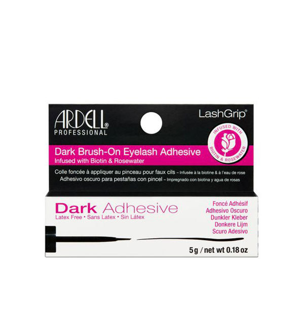 Dark Brush On LashGrip Adhesive infused with Biotin & Rosewater Latex Free