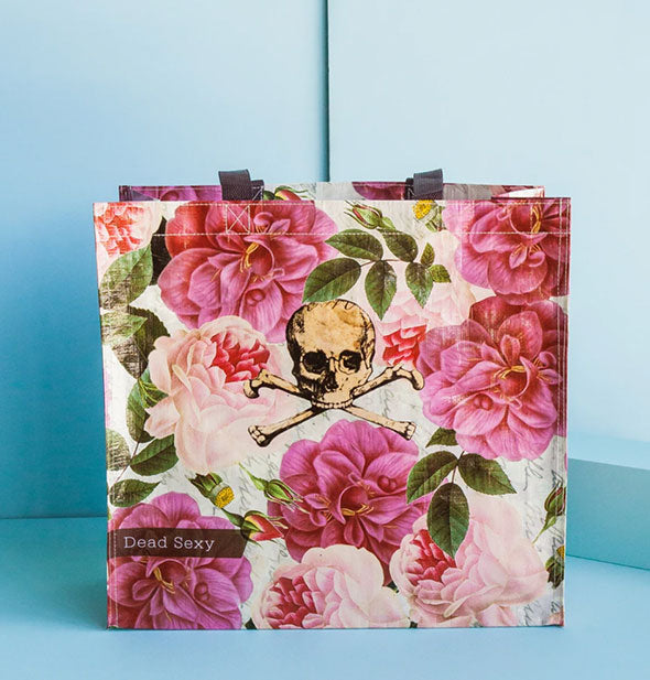 The Dead Sexy Market Tote Skull and crossbones with large pink flowers
