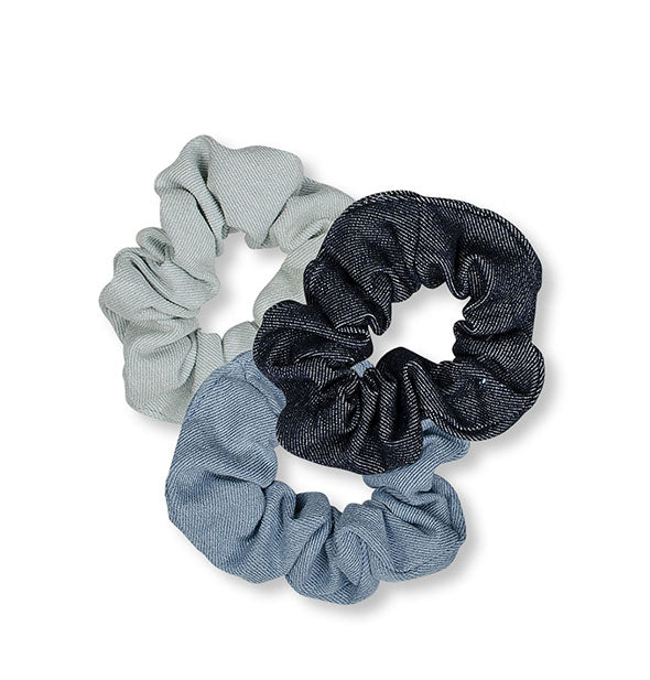 Three denim hair scrunchies