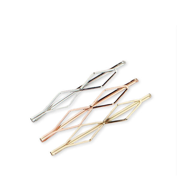 Diamond Bobby Pin Set in silver rose gold and gold