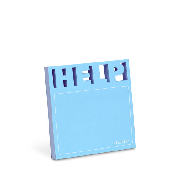 Pad of blue die-cut HELP sticky notes