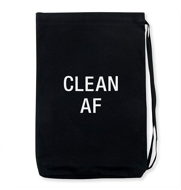 Black Clean AF laundry bag with strap and white lettering