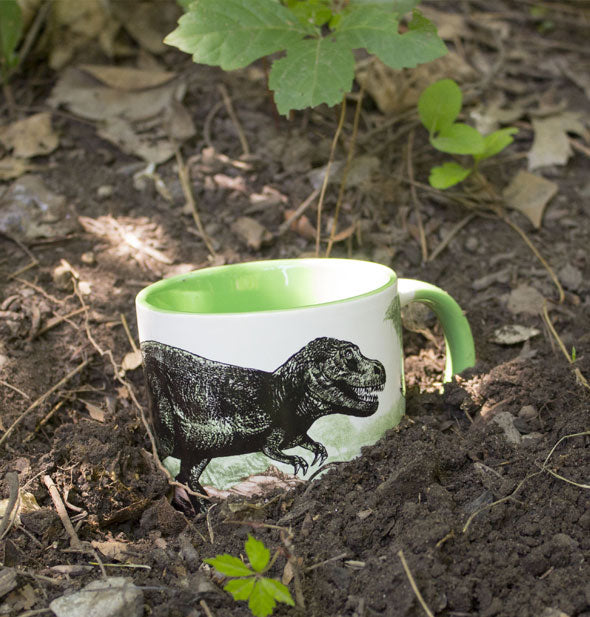 Dinosaur mug partially buried in soil