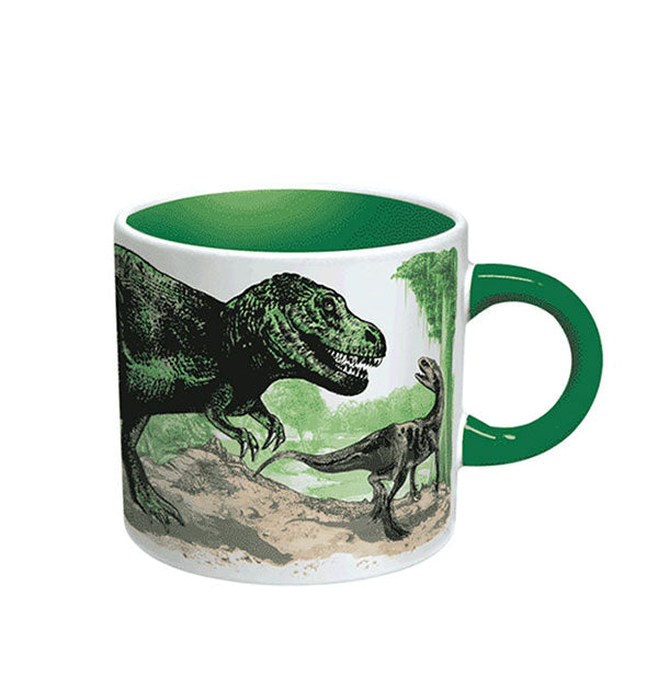 Coffee mug with dinosaur design, green handle, and green inner color