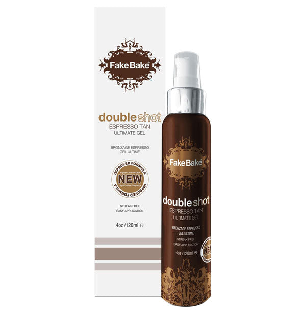 Bottle of Fake Bake Double Shot Espresso Tan Ultimate Gel with box