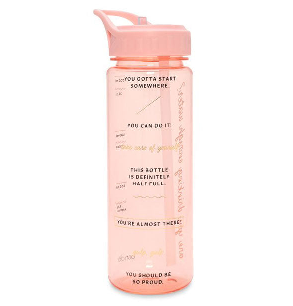 Clear pink water bottle with motivational text in black
