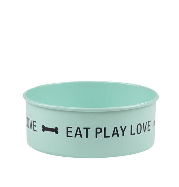 Aqua Eat Play Love pet dish with black lettering and bone graphic