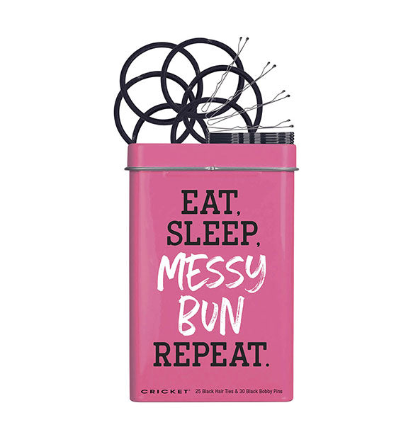 Tin with 25 Black Hair Ties & 30 Black Bobby Pins Pink with Black and White Text Eat Sleep Messy Bun Repeat
