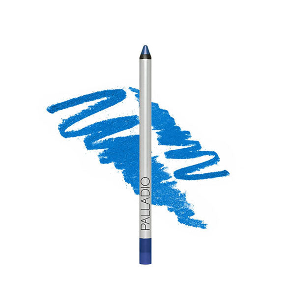 Palladio liner pencil in bright blue shade with sample squiggle behind