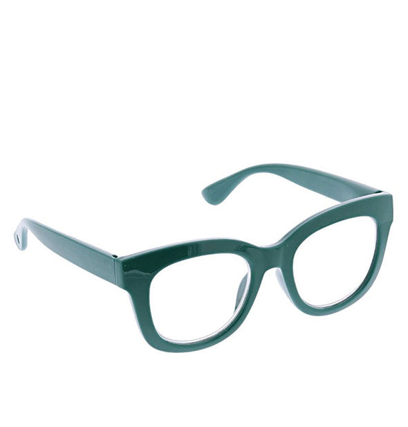 Angled view of Peepers Center Stage Readers in Emerald.