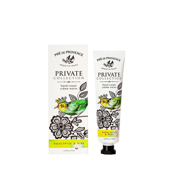 Decorative tube of Pré de Provence Private Collection hand cream alongside matching box packaging