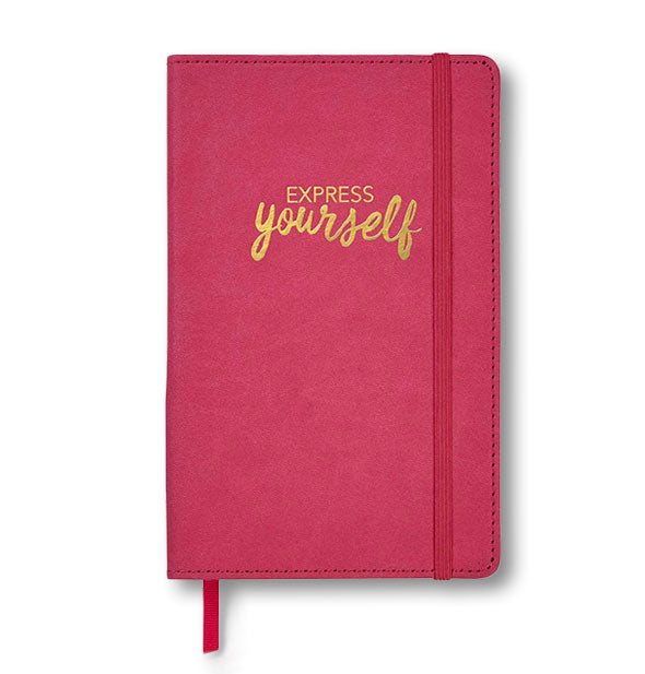 "Red leatherette journal with bookmark, elastic band, and gold ""Express Yourself"" stamping"