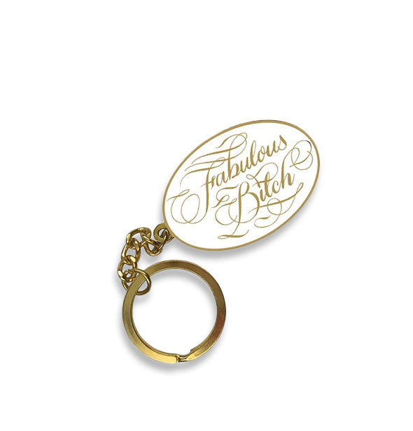 White and gold Fabulous Bitch calligraphic keychain
