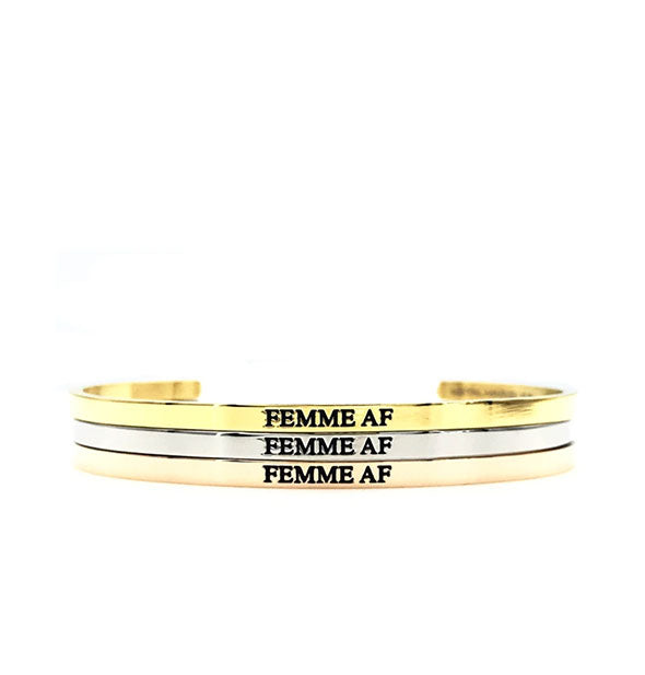 femme af metal bracelets in gold silver and rose gold