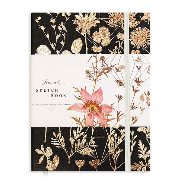 The Fireweed Black Shine Sketchbook with Pressed Flowers