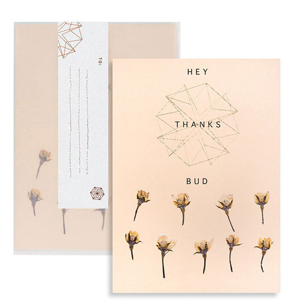 Hey Thanks Bud greeting card and envelope with pressed flower design and copper foil details