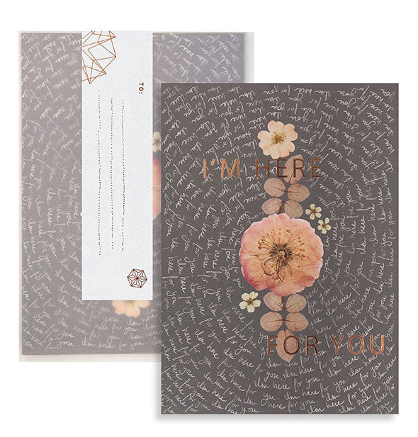 Decorative floral greeting carda and envelope with copper foil detail and white spiraling script design