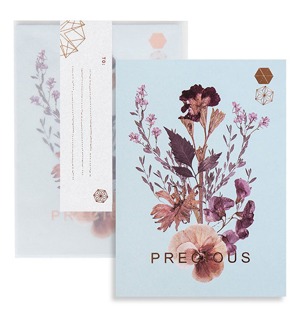 Blue floral Precious greeting card and envelope accented with copper foil details