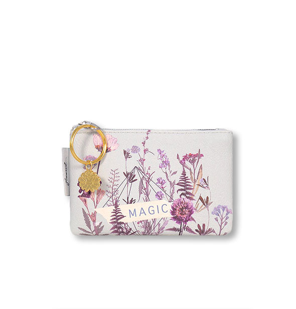 Dusty purple Magic coin purse with floral artwork and gold hardware