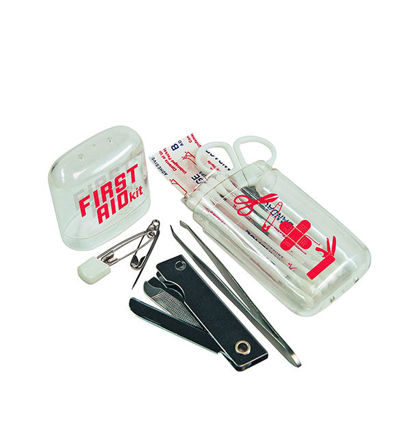First Aid Kit with plastic case and some contents including safety pins, nail clipper, tweezer, bandages, swabs, and scissors shown