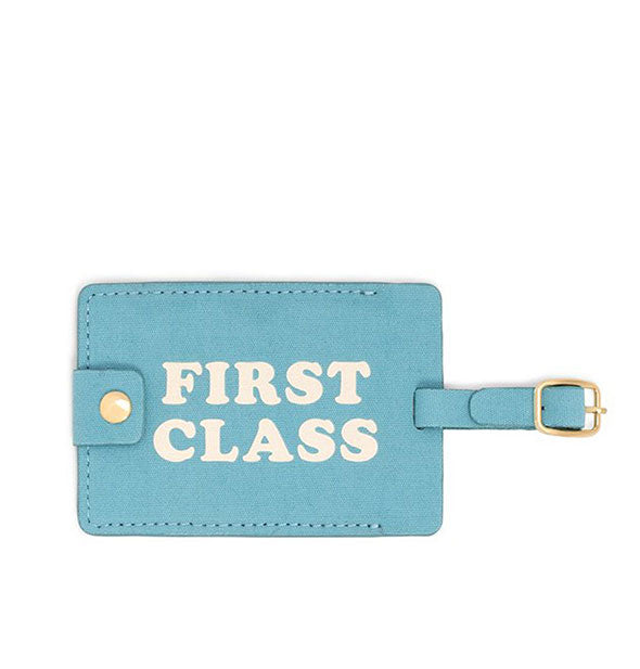 Light Blue with White First Class Luggage Tag