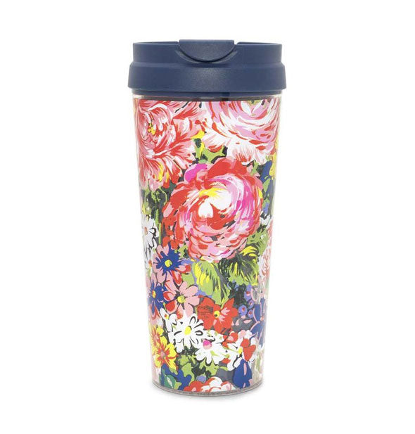 Flower Thermal Mug with Black Lid